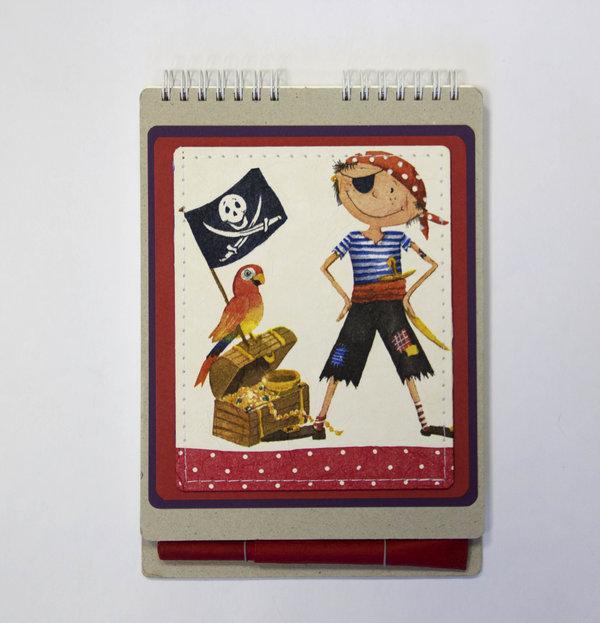 """Скетчбук EcoPad """"Пират"""" с шариковой экоручкой"""
