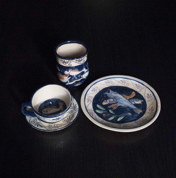 """ТОК: """"Рыбный"""" комплект: чайная пара, тарелка и вазочка"""