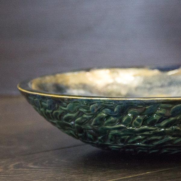 """ТОК: керамическое блюдо темно-синее """"Спираль"""""""