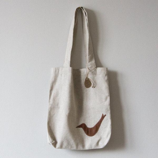 Льняная сумка с кожаной вставкой
