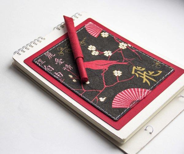 """Скетчбук EcoPad """"Япония"""" и шариковая экоручка"""